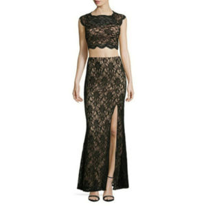 City Triangles Black Apricot Lace Formal Dress